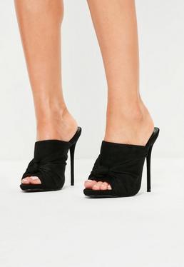 Czarne wkładane szpilki sandały