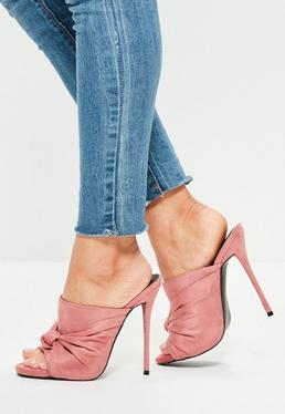 Hohe Mule Sandaletten-Slipper mit Knoten Riemen in Rosa