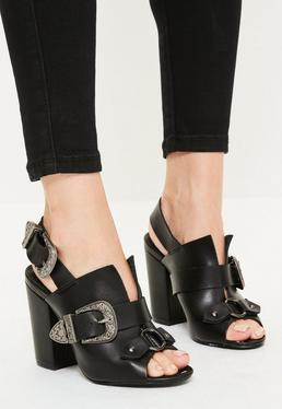 Black Western Buckle Block Heeled Sandals