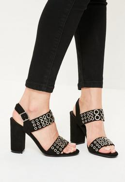 Black Eyelet Block Heeled Sandals