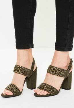 Khaki Eyelet Block Heeled Sandals
