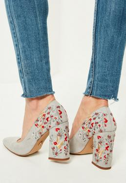 Grey Embroidered Pointed Toe Pumps