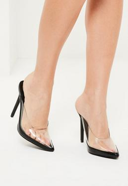 Black Transparent Closed Toe Heeled Mules