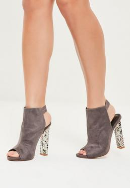 Grey Contrast Block Heeled Boots