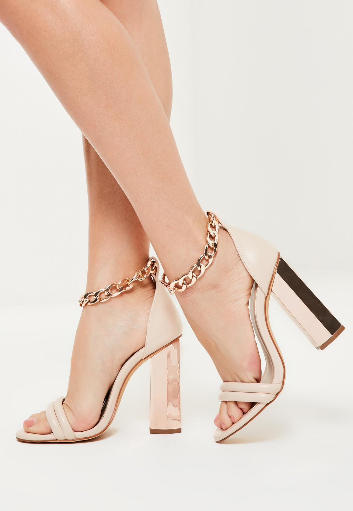 Rose Gold Chunky Chain Ankle Strap Block Heeled Sandals | Missguided