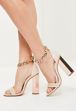 Rose Gold Chunky Chain Ankle Strap Block Heeled Sandals
