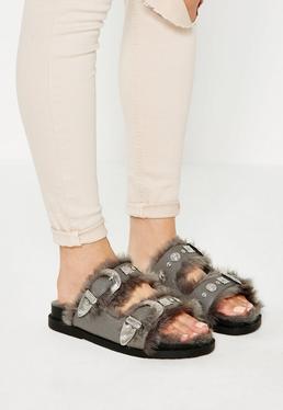 Szare płaskie sandały klapki z futerkiem