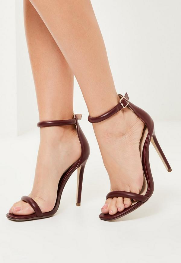 Burgundy Rounded Strap Barely There Heels