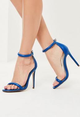 Blue Rounded Strap Barely There Heels