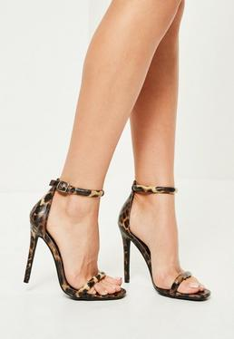 brown leopard print rounded strap barely there heels