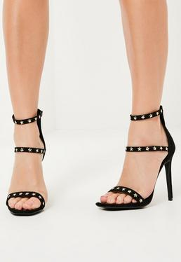 Black Faux Suede 3 Strap Star Studded Heeled Sandals