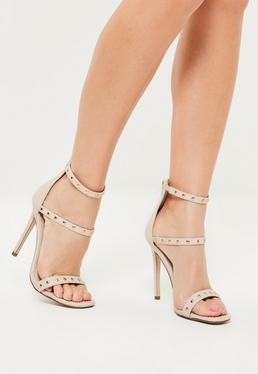 Nude 3 Strap Contrast Studded Heeled Sandals