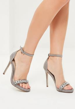 Grey Snake Textured Chain Strap Heeled Sandals