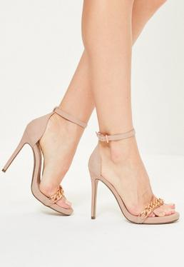 Nude Chain Strap Faux Suede Heeled Sandals