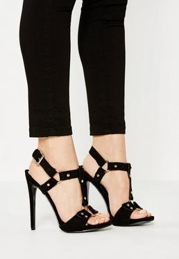Black Harness Trim Gladiator Heeled Sandals