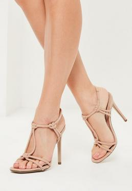 Nude Knotted T-Bar Heeled Sandals