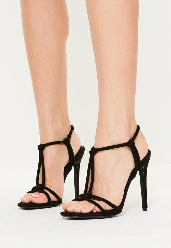 Black Knotted T Bar Heeled Sandals