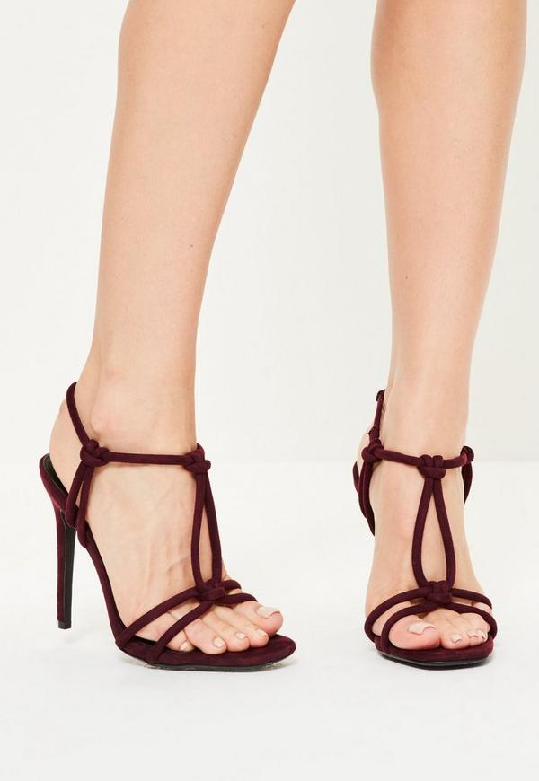 Burgundy Knotted T-Bar Heeled Sandals
