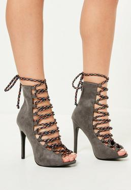 Grey Contrasting Lace Peep Toe Heeled Boots