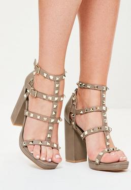 Grey Gladiator Studded Block Heel Sandals