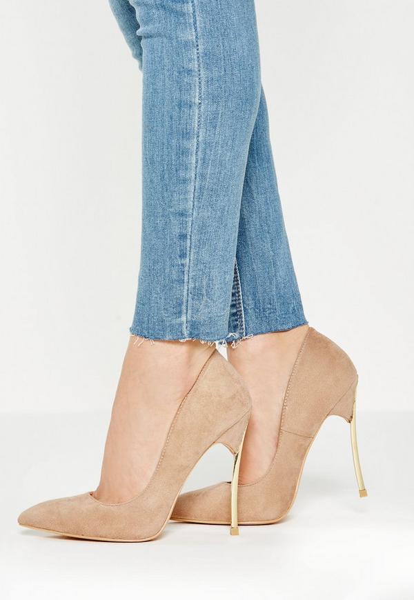 Beige Curved Metal Heel Pointed Court Shoe