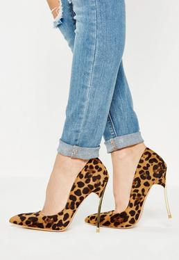 Brown Animal Print Metal Heel Court Shoes