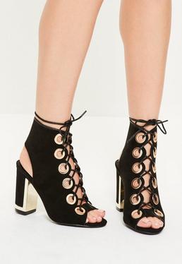 Black Eyelet Lace Up Black Heel Sandals