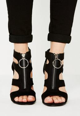 Black Pull Ring Block Heel Sandals