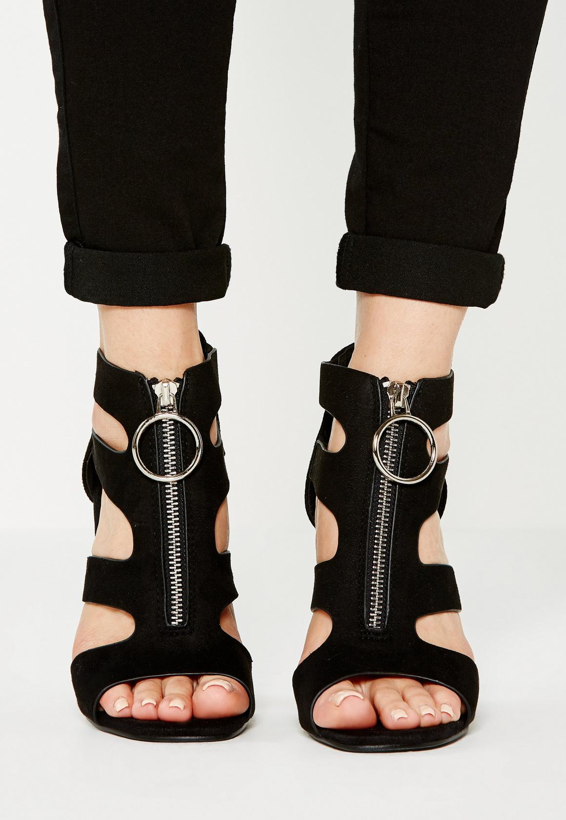 Black sandals grunge - Black Pull Ring Block Heel Sandals Black Pull Ring Block Heel Sandals