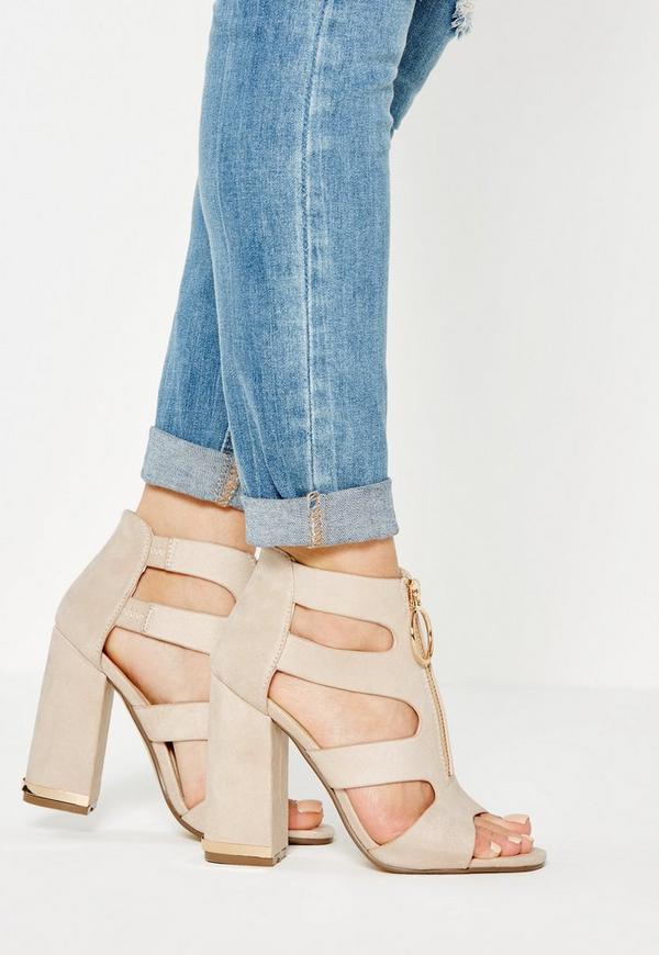 Nude Pull Ring Block Heel Sandals