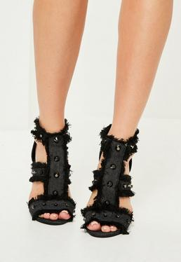 Grey Studded Frayed Gladiator Heeled Sandals