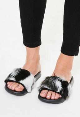 Grey Faux Fur Vamp Sliders