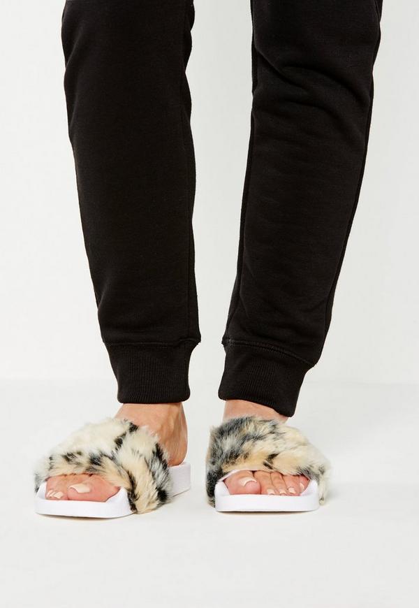Brown Faux Fur Sliders