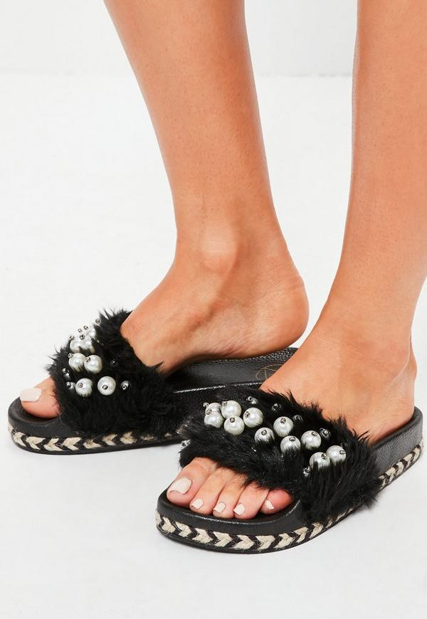 Black Faux Fur Pearl Detail Platform Sliders
