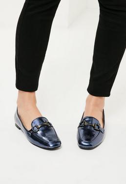 Moccasins Schuhe mit graphitgrauer Schnalle in metallischem Blau
