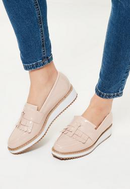 Chaussures plates roses à franges