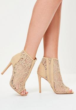 Nude Lace Peep Toe Heeled Ankle Boots