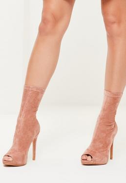 Peep-Toe Plateau-Stiefel mit Absatz aus Kunst-Wildleder in Rosa