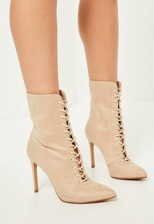 Nude Pointed Lace Up Heeled Ankle Boots