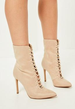 Nude Pointed Toe Lace Up Heeled Ankle Boots
