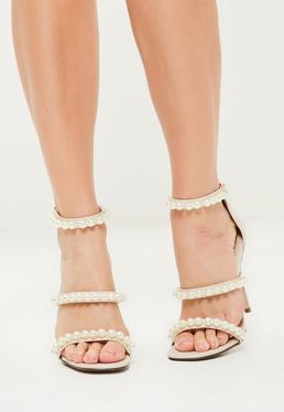 Nude Pearl Embellished 3 Strap Barely There Heels