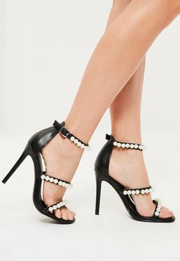 Black Pearl Embellished 3 Strap Barely There Heels