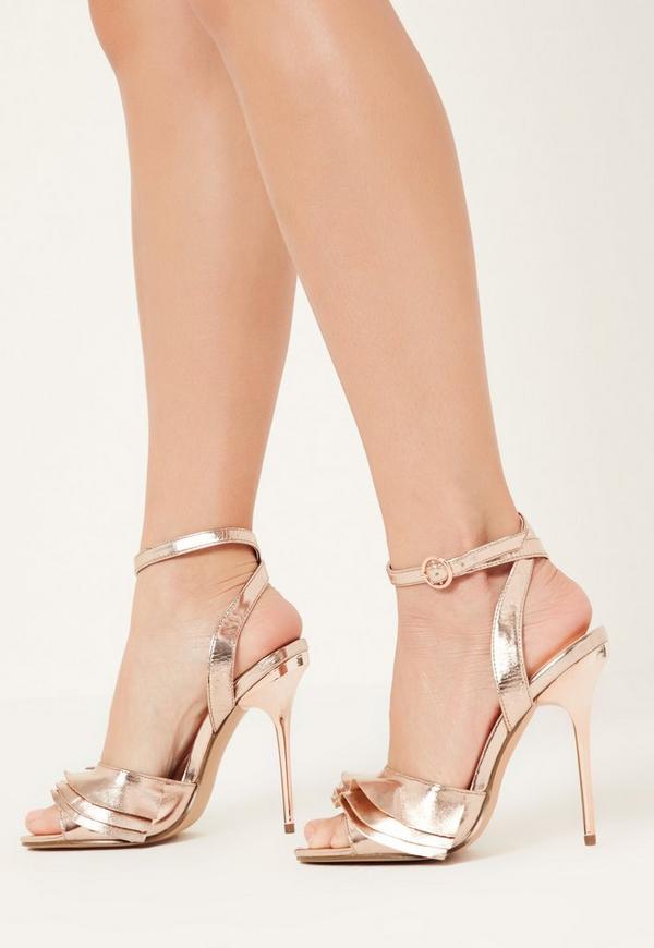 Rose Gold Ruffle Detail Heeled Sandals