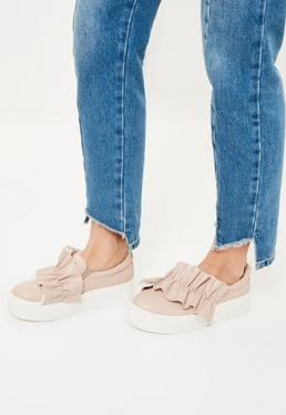 Nude Oversized Ruffle Trim Skater Pumps