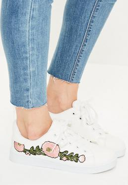 White Floral Embroided Lace Up Sneakers