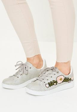 Grey Floral Embroided Lace Up Trainers