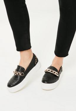 Black Chunky Chain Studded Flatform Sneakers