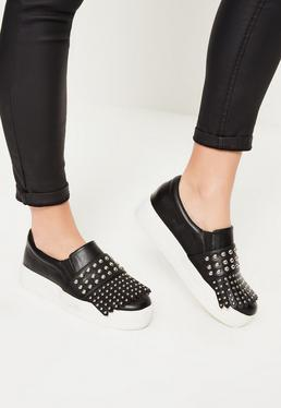Black Fringe Detail Studded Flatform Skater Pumps