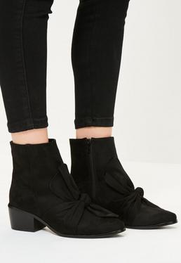 Black Faux Suede Bow Detail Ankle Boots