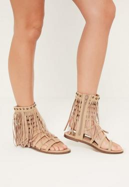 Nude Tassel Ankle Cuff Gladiator Shoes